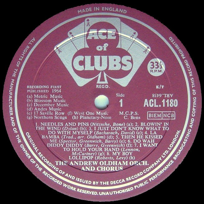 Label Variations: Ace Of Clubs Records